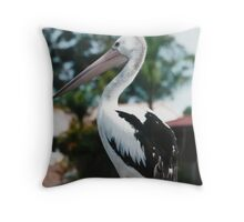 Pelican on Jetty Rails. Throw Pillow