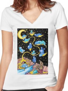 golden turtle tree Women's Fitted V-Neck T-Shirt