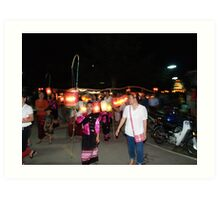 Shan parade at night festival Art Print