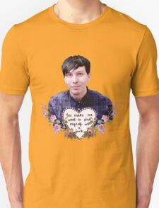 Phil Lester Floral Print with Quote T-Shirt