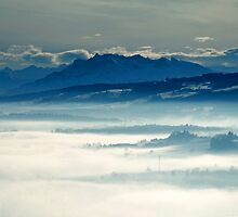 Swiss Alpine panorama with Rigi from a hill in Aargau by Michael Brewer