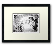 The Lost World, an Allosaurus comes close to camp. Framed Print