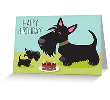 Birthday Cake and Scotties Greeting Card
