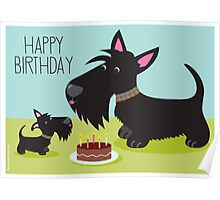 Birthday Cake and Scotties Poster