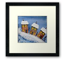 Houses in the Snow Framed Print