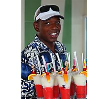 Warm smile and colourful drinks Photographic Print