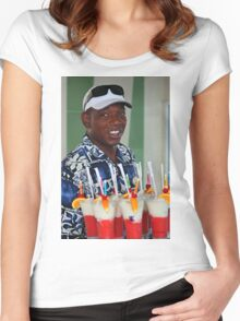 Warm smile and colourful drinks Women's Fitted Scoop T-Shirt