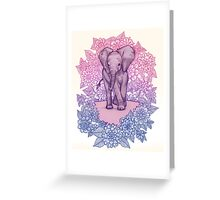 Cute Baby Elephant in pink, purple & blue Greeting Card
