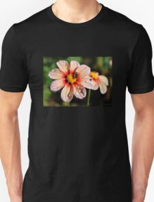 Pink Dahlias and a Bee Unisex T-Shirt