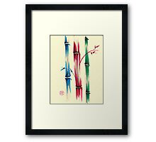"""Rainbow Bamboo Forest""  Watercolor Bamboo Painting Framed Print"