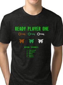 Ready Player One 8-Bit Game High Five Tri-blend T-Shirt