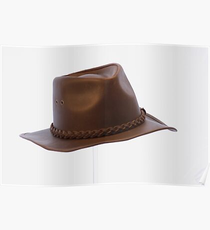BROWN LEATHER BRIM HAT Poster