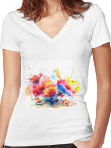 """Watercolor Garden"" Women's Fitted V-Neck T-Shirt"