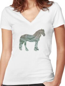 paper horse Women's Fitted V-Neck T-Shirt
