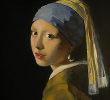 Girl with a pearl earring by Vermeer by Zoran Kudra