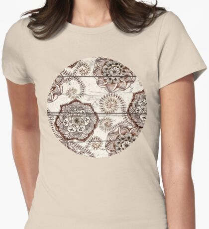 Coffee & Cocoa - brown & cream floral doodles on wood Womens Fitted T-Shirt