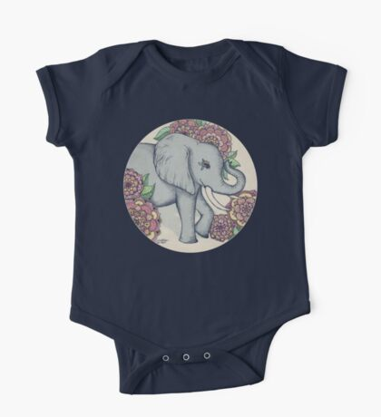 Little Elephant in soft vintage pastels One Piece - Short Sleeve