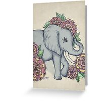 Little Elephant in soft vintage pastels Greeting Card