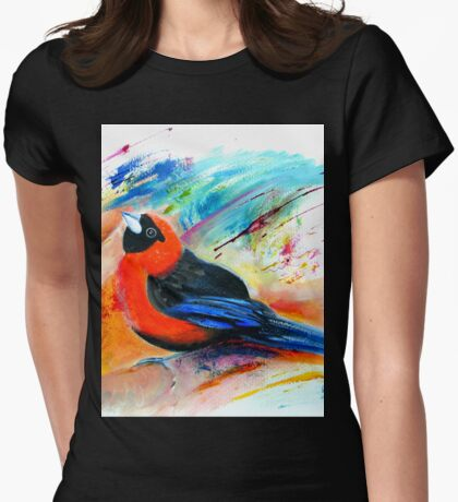 Masked Crimson Tanager Womens Fitted T-Shirt