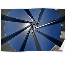 Spiral Sculpture on Blue Sky with Sun Poster