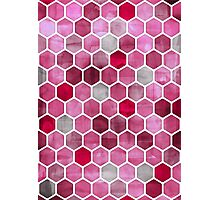 Pink Ink - watercolor hexagon pattern Photographic Print