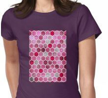 Pink Ink - watercolor hexagon pattern Womens Fitted T-Shirt