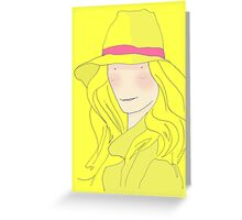 Girl In Hat With Purple Ribbon Greeting Card