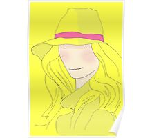 Girl In Hat With Purple Ribbon Poster