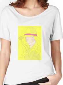Girl In Hat With Purple Ribbon Women's Relaxed Fit T-Shirt