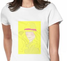 Girl In Hat With Purple Ribbon Womens Fitted T-Shirt