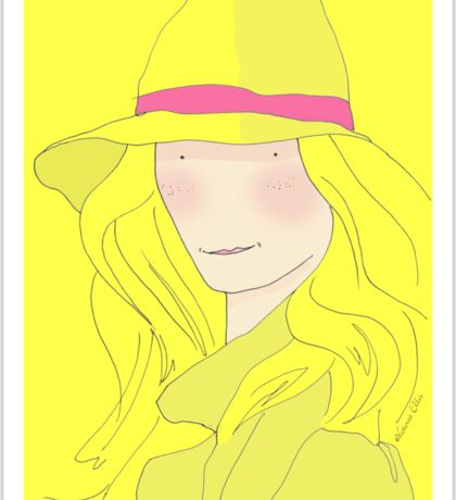Girl In Hat With Purple Ribbon Sticker