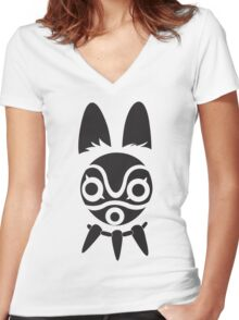 San's Mask (Princess Mononoke) Women's Fitted V-Neck T-Shirt