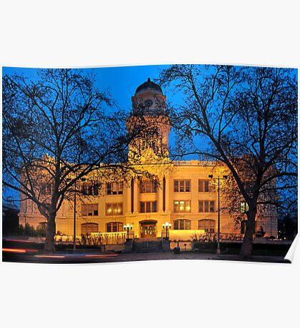 six-fifteen: Sacramento's Old City Hall under lights Poster