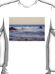 Rocky beach at sunset T-Shirt