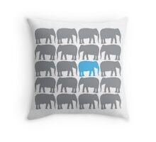 One Blue Elephant in the Herd Throw Pillow