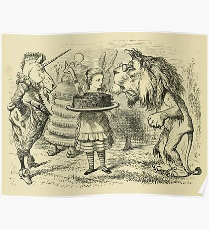 Through the Looking Glass Lewis Carroll art John Tenniel 1872 0172 Lion and Unicorn Poster
