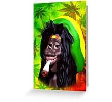 Rastaman Marijuana Caricature 3d Greeting Card