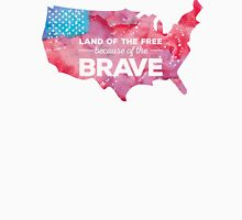 Land of the Free because of the Brave Watercolor Mens V-Neck T-Shirt