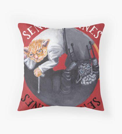 Senile Felines Throw Pillow
