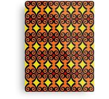 Retro curls - orange Metal Print