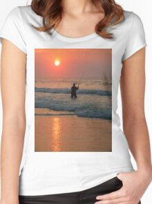 #411   Surf Fishing At Sunrise Women's Fitted Scoop T-Shirt