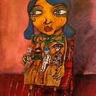 Girl with Mexican dolls by Tim  Vagg