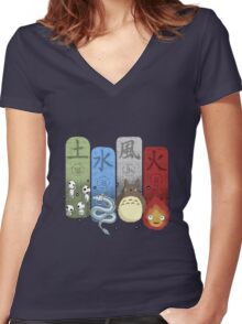 Ghibli Elemental Charms Women's Fitted V-Neck T-Shirt