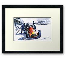Pit Stop Alfa Romeo158 British GP 1950 J M Fangio Framed Print