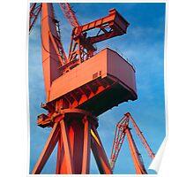 Red dockyard cranes Poster