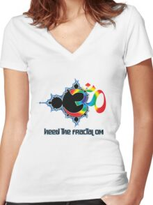 Heed The Fractal Om Women's Fitted V-Neck T-Shirt