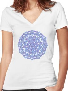 Lilac Spring Doodle Flower Women's Fitted V-Neck T-Shirt