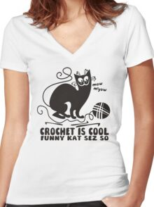 Black white crochet is cool funny derpy cat says so Women's Fitted V-Neck T-Shirt