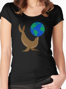 Earth Day Sea Lion Women's Fitted Scoop T-Shirt