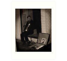 The busker and his accordian. Art Print